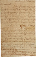 "Autographs:U.S. Presidents, George Washington Autograph Letter Signed. One and one-third pages,7.25"" x 11.5"", Newburgh [New York], June 5, 1782. Writin..."