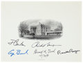 Autographs:U.S. Presidents, Printed White House Engraving Signed by Five Presidents: Richard Nixon, Gerald Ford, Jimmy Carter, Ronald Reagan, and George B...