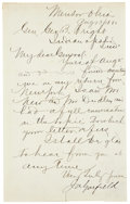 Autographs:U.S. Presidents, James Garfield Autograph Letter Signed as the Republicanpresidential candidate. Two pages including integral blank, penned...