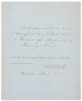 "Autographs:U.S. Presidents, Ulysses S. Grant Document Signed as president. Two partly-printedpages including integral blank, pale blue paper, 8"" x ..."