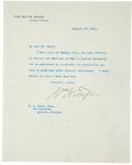"""Autographs:U.S. Presidents, William H. Taft Typed Letter Signed. One page, 7"""" x 8.75"""", Washington, January 27, 1911, notifying F. L. Seely of the Geor..."""