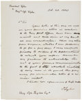 """Autographs:U.S. Presidents, John Tyler Autograph Letter Signed as president. Two pages, 8"""" x 10"""", n.p. [Washington, D.C.], October 20, 1841. Headed, """"..."""
