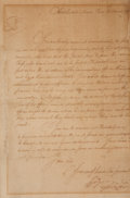 """Autographs:U.S. Presidents, George Washington Letter Signed. The manuscript is in the hand ofAlexander Hamilton. One page, 8"""" x 12.75"""", """"Headquar..."""