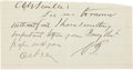 "Autographs:U.S. Presidents, [James Garfield] Charles Guiteau Autograph Note Signed. One page, approximately 5.5"" x 3"", n.p. [Washington, D.C.], ""Oct ..."