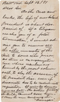 "Autographs:U.S. Presidents, [Charles Guiteau] Anonymous Autograph Postcard. One page, 5.25"" x 3"", on cardstock, Washington, D.C., September 12, 1881. F..."