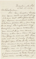 "Autographs:U.S. Presidents, [Charles Guiteau] George Scoville Autograph Letter Signed. Twopages, penned on recto and verso, 5"" x 8"", Washington, D.C., ..."