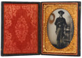 Photography:Tintypes, Early War Quarter Plate Soft Emulsion Tintype Portrait of aWell-Armed Young Federal Cavalryman....