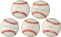 Autographs:Baseballs, Baseball Hall Of Famers And Stars Single Signed Baseballs Lot Of5....
