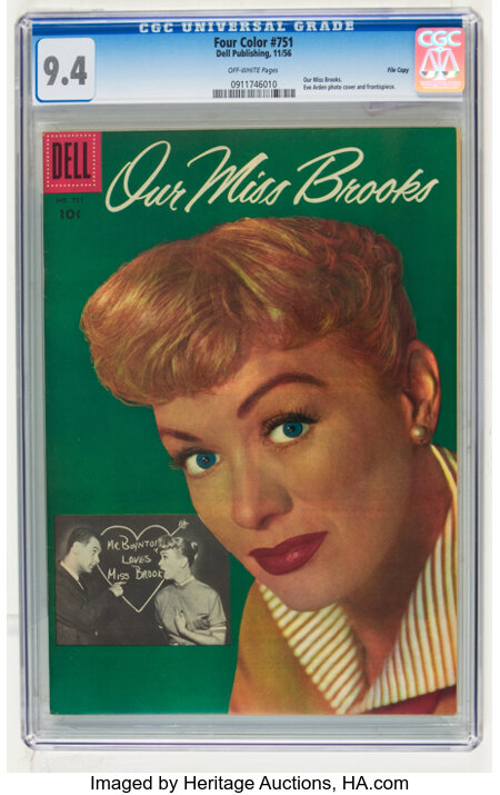 Four Color #751 Our Miss Brooks - File Copy (Dell, 1956) CGC NM 9.4 Off-white pages....