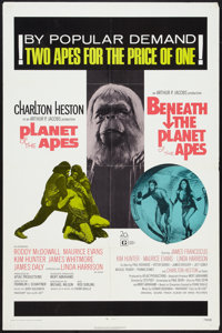 """Planet of the Apes/Beneath the Planet of the Apes Combo (20th Century Fox, R-1971). One Sheet (27"""" X 41""""). Sci..."""