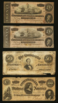 Confederate Notes:Group Lots, Mixed Lot of Confederate Notes with Problems. Four Examples.. ...(Total: 4 notes)
