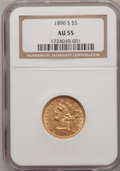 Liberty Half Eagles: , 1896-S $5 AU55 NGC. NGC Census: (62/158). PCGS Population (31/65).Mintage: 155,400. Numismedia Wsl. Price for problem free...