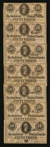 Confederate Notes:1864 Issues, T72 50 Cents 1864. Seven Examples.. ... (Total: 7 notes)
