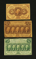 Fractional Currency:Group Lots, A nice grouping of First Issue Fractionals. ... (Total: 3 notes)