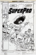 Original Comic Art:Covers, Jose Delbo and Joe Sinnott NFL Superpro #5 Cover OriginalArt (Marvel, 1988)....
