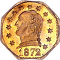 California Fractional Gold, 1872 25C Washington Octagonal 25 Cents, BG-722, Low R.4, MS64PCGS....