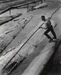 Photography :20th Century , HORACE BRISTOL (American, 1909-1997). Lumberjack Poling Log in Mill Pond, 1935. Gelatin silver, printed later. Paper:10 ...