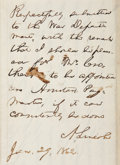 "Autographs:U.S. Presidents, Abraham Lincoln Autograph Endorsement Signed as President. One page, 7.5"" x 9.75"", endorsement penned on the verso of a ..."