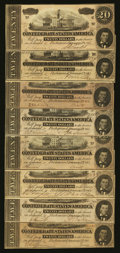 Confederate Notes:1864 Issues, T67 $20 1864 Eight Examples.. ... (Total: 8 notes)