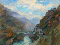 Impressionism & Modernism:French Impressionism, ALBERT LEBOURG (French, 1849-1928). Le Rhone à Saint-Maurice,Valais, Suisse. Oil on canvas. 24 x 32 inches (61.0 x 81.3...