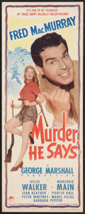 """Movie Posters:Comedy, Murder, He Says (Paramount, 1945). Insert (14"""" X 36""""). Comedy.. ..."""