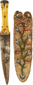 American Indian Art:Beadwork and Quillwork, A PLAINS CREE BEADED BUFFALO HIDE KNIFE SHEATH. c. 1850 ... (Total:2 Items)