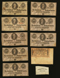 Confederate Notes:1863 Issues, 50 Cents Notes and Bond Coupons. . ... (Total: 10 notes)