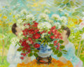 Impressionism & Modernism:post-Impressionism, LE PHO (French, 1907-2001). Les Deux Enfants et les Roses.Oil on canvas. 28-3/4 x 36-1/4 inches (73.0 x 92.1 cm). Signe...