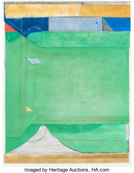RICHARD DIEBENKORN (American, 1922-1993) Green, 1986 Etching with aquatint and drypoint printed in colors 44 x 35.5 i...