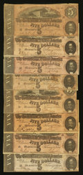 Confederate Notes:1864 Issues, T69 $5 1864 Eight Examples.. ... (Total: 8 notes)
