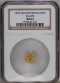 California Fractional Gold: , 1875 25C Indian Round 25 Cents, BG-878, R.3, MS62 NGC. NGC Census:(6/11). PCGS Population (36/112). (#10739)...