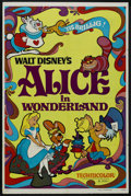 "Movie Posters:Animated, Alice in Wonderland (Buena Vista, R-1974). One Sheet (27"" X 41"").Animated. ..."