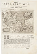 Antiques, [Map]. Tartariae Imperium. Single leaf containing acopper-engraved map of Tartariae Imperium as well as text on...