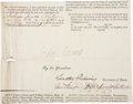 "Autographs:U.S. Presidents, John Adams Partial Document Signed as President. One page,approximately 8.25"" x 6.5"", cut from a four-language ship'spaper..."