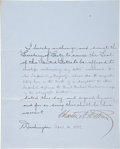 "Autographs:U.S. Presidents, Chester A. Arthur Document Signed as President. Two partly-printed pages, 8"" x 10"", on blue stationery, Washington, D.C., Ap..."