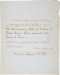 """Autographs:U.S. Presidents, Andrew Johnson Partly Printed Document Signed As President. Twopages including integral blank, 8"""" x 10"""", on pale blue stati..."""