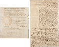 "Autographs:U.S. Presidents, James Polk Partly Printed Document Signed as Governor of Tennessee. One page, 7.75"" x 8.5"", Nashville, TN, September 22, 184... (Total: 2 Items)"