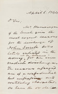 "Autographs:U.S. Presidents, John Tyler Autograph Letter Signed as President. One page, pennedon recto and verso, 5"" x 8"", n.p., April 6, 1844. The pres..."