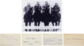 Football Collectibles:Others, Four Horseman Of Notre Dame Signed Index Cards And Photo....