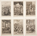 Antiques:Posters & Prints, Twelve Biblical Plates. Twelve Old Testament scenes engraved byPicart and Hoet, on sheets of laid paper measuring approxima...