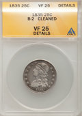 Bust Quarters: , 1835 25C --Cleaned--ANACS. VF25 Details. B-2. NGC Census: (7/338). PCGS Population (22/379). Mintage: 1,952,000. Numismedia...