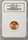 Lincoln Cents, 1984 1C Doubled Die Obverse MS68 Red NGC. FS-101....