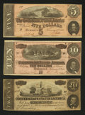 Confederate Notes:1864 Issues, Three Different 1864 Notes Fine or Better.. ... (Total: 3 notes)