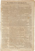 """Miscellaneous:Newspaper, War of 1812 Newspaper: Washington Republican. Four pages,11.25"""" x 17"""", September 8, 1813, with news about the w..."""