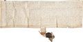 "Autographs:Non-American, [Richard II] Legal Document from the Reign of Richard II,ca. 1395. Vellum document (12"" x 4"") with a magnificentattach..."