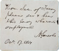 "Autographs:U.S. Presidents, Abraham Lincoln Autograph Note Signed as President. One page, 3.25"" x 3"", n.p., October 17, 1864, penned on the verso of a p..."