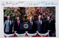 "Autographs:U.S. Presidents, Full Color Photograph Signed by Five Presidents. Color satin-finish10"" x 7"" photograph taken at the dedication ceremony of ..."