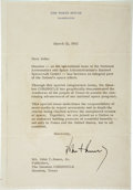 """Autographs:U.S. Presidents, John F. Kennedy Typed Letter Signed as president on White Housestationery. One page, 6.75"""" x 9.5"""", Washington, March 21, 19..."""