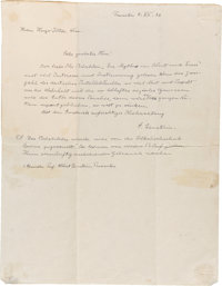 "Albert Einstein Autograph Letter Twice Signed. One page, 8.5"" x 11"", Princeton, December 5, 1936, in German to..."