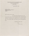 Autographs:Celebrities, Albert Einstein Typed Letter Signed, with an Original AdvertisingBill for the book The Myth of Blood and Race. ... (Total: 2Items)